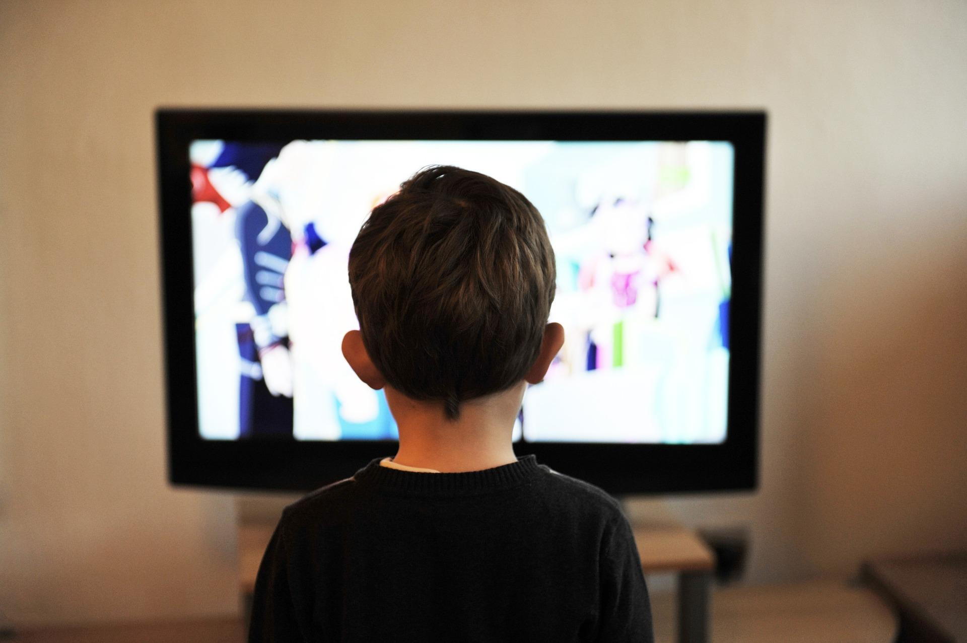 TVを観ている少年