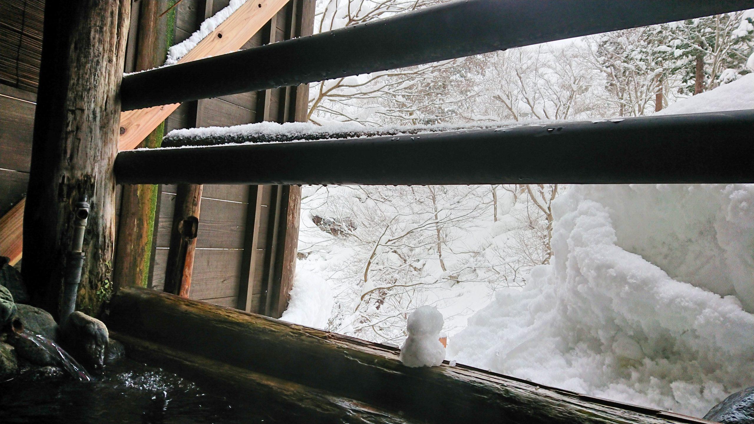 露天風呂-雪だるま
